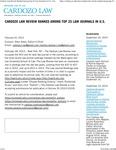 Cardozo Law Review Ranked Among Top 25 Law Journals in U.S. by Benjamin N. Cardozo School of Law