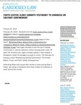 Youth Justice Clinic Submits Testimony to Congress on Solitary Confinement by Benjamin N. Cardozo School of Law