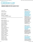 Cardozo Honors for the Class of 2014 by Benjamin N. Cardozo School of Law