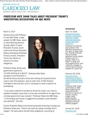 Professor Kate Shaw Talks About President Trump S Wiretapping Accusati By Benjamin N Cardozo School Of Law