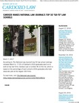 Cardozo Makes National Law Journal's Top 50 -Go-To- Law Schools by Benjamin N. Cardozo School of Law