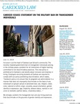 Cardozo Issues Statement on the Military Ban on Transgender Individuals by Benjamin N. Cardozo School of Law