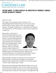 Victor Wang '15 Joins Faculty as Director of Cardozo - Google Patent Diversity Project