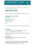 Not Their Art! by Cardozo FAME Center, Cardozo Art Law Society, and Appraisers Association of America