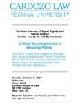 Critical Developments in Housing Policy