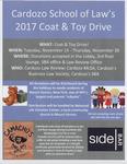 Cardozo School of Law's 2017 Coat & Toy Drive by Cardozo Law Review, Cardozo Minority Law Student Alliance (MLSA), Cardozo Business Law Society, and Cardozo Student Bar Association
