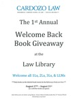 1st Annual Welcome Back Book Giveaway